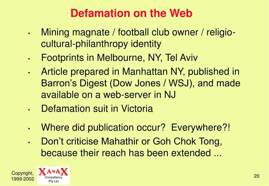 Defamation on the Web