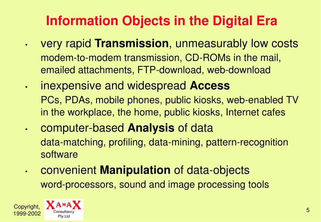 Information Objects in the Digital Era