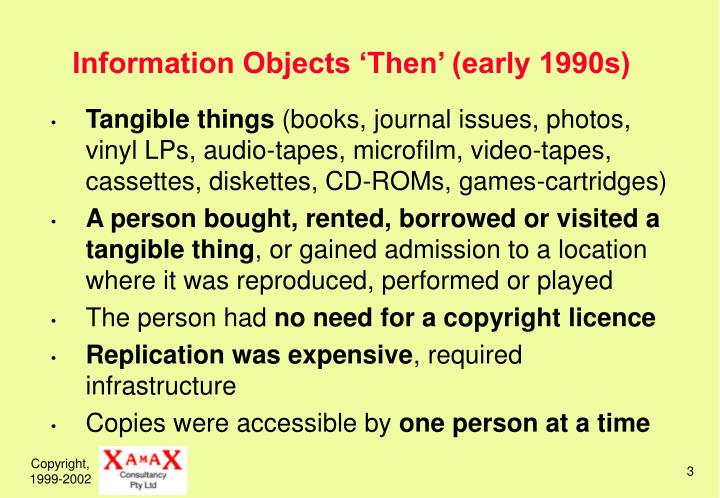 Information objects then early 1990s