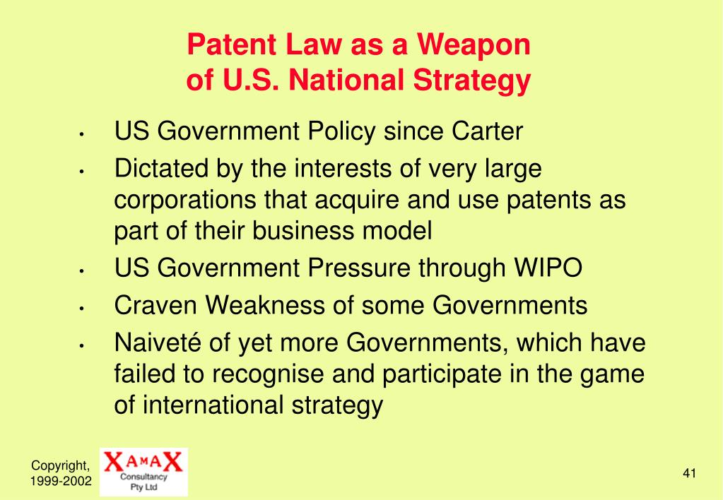 Patent Law as a Weapon