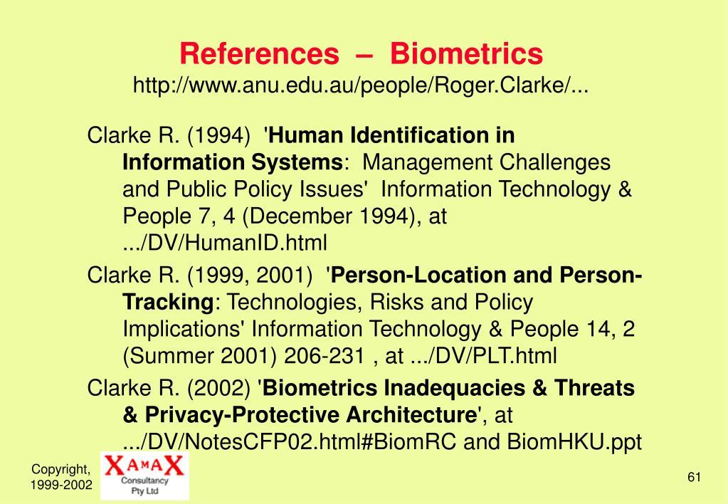 References  –  Biometrics