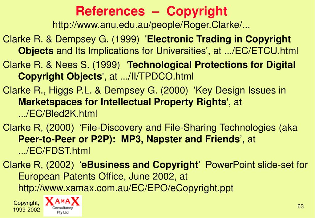 References  –  Copyright