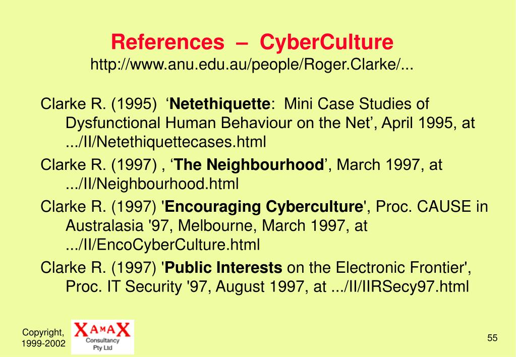References  –  CyberCulture