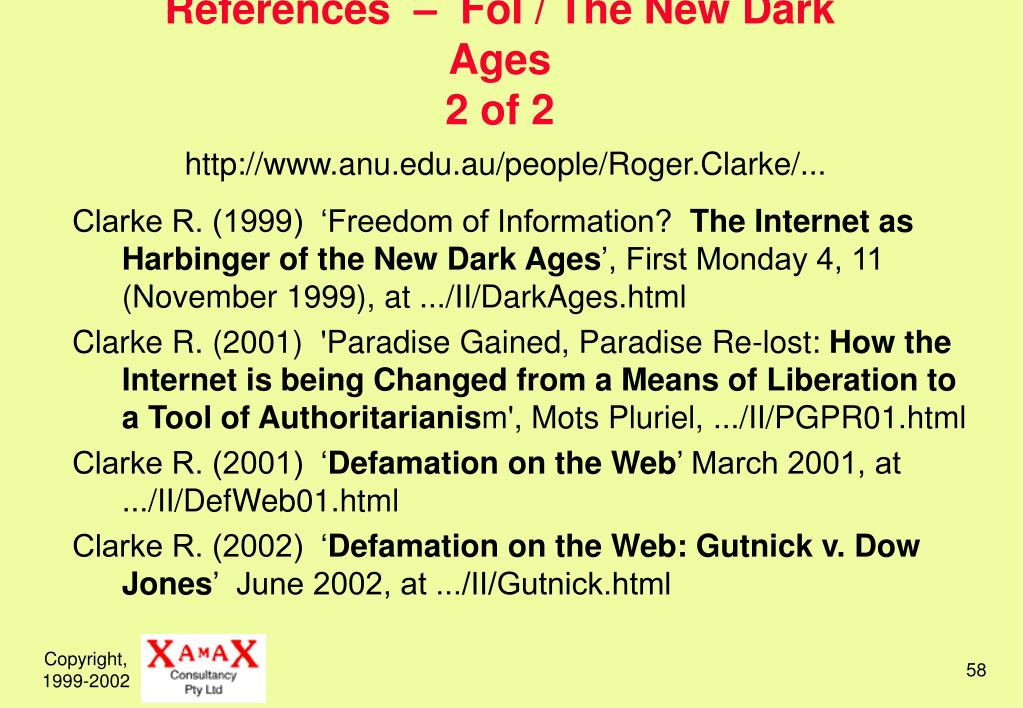 References  –  FoI / The New Dark Ages