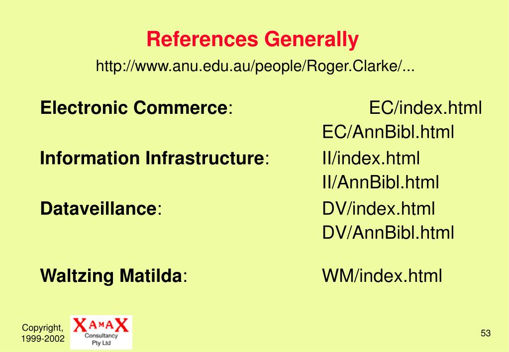 References Generally