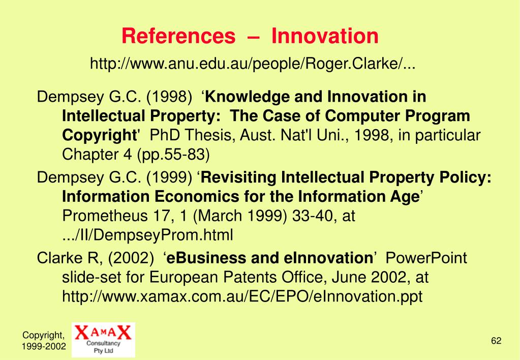 References  –  Innovation