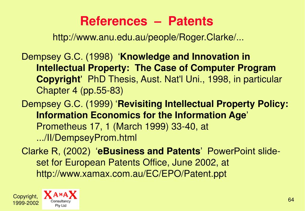 References  –  Patents