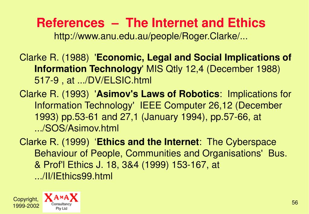 References  –  The Internet and Ethics