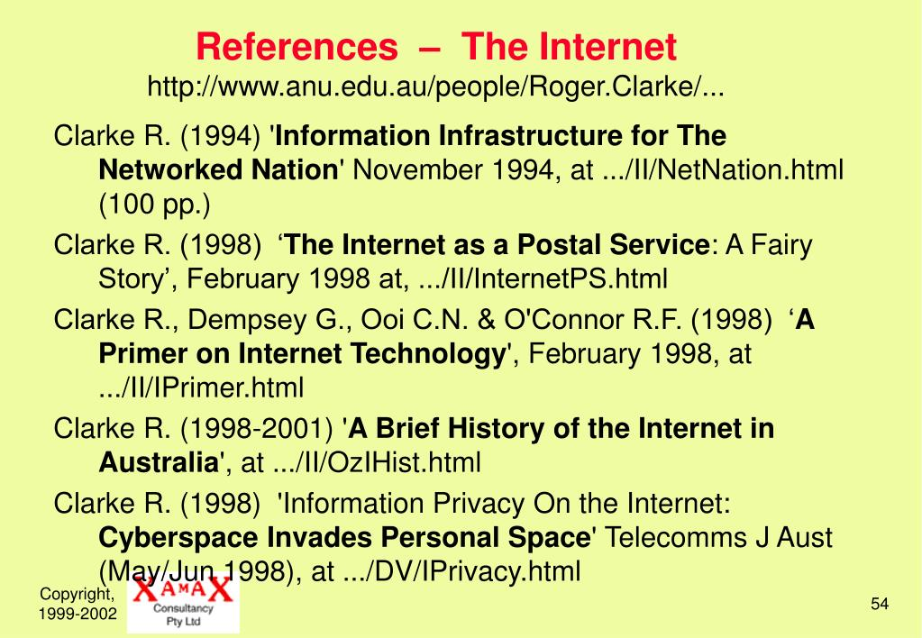 References  –  The Internet