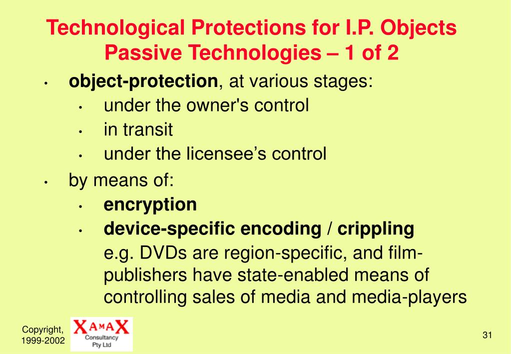 Technological Protections for I.P. Objects