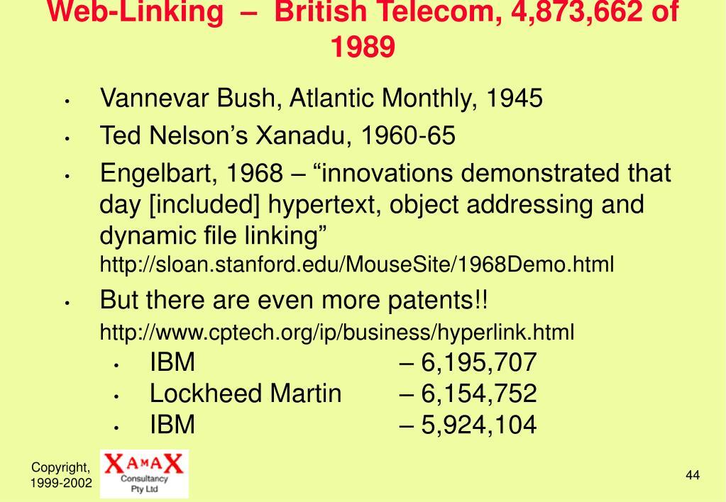 Web-Linking  –  British Telecom, 4,873,662 of 1989