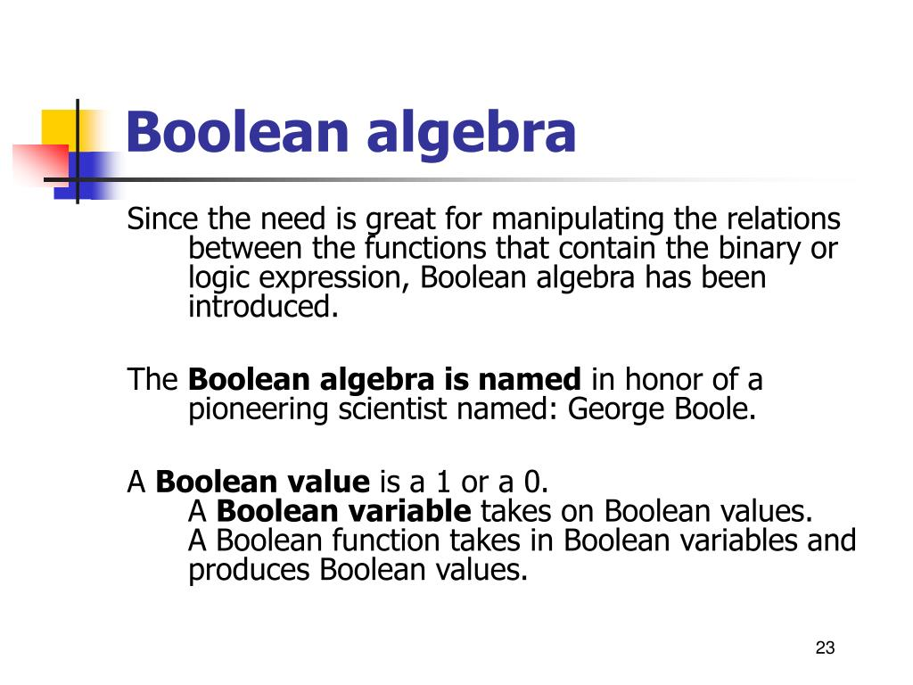 Since the need is great for manipulating the relations between the functions that contain the binary or logic expression, Boolean algebra has been introduced.