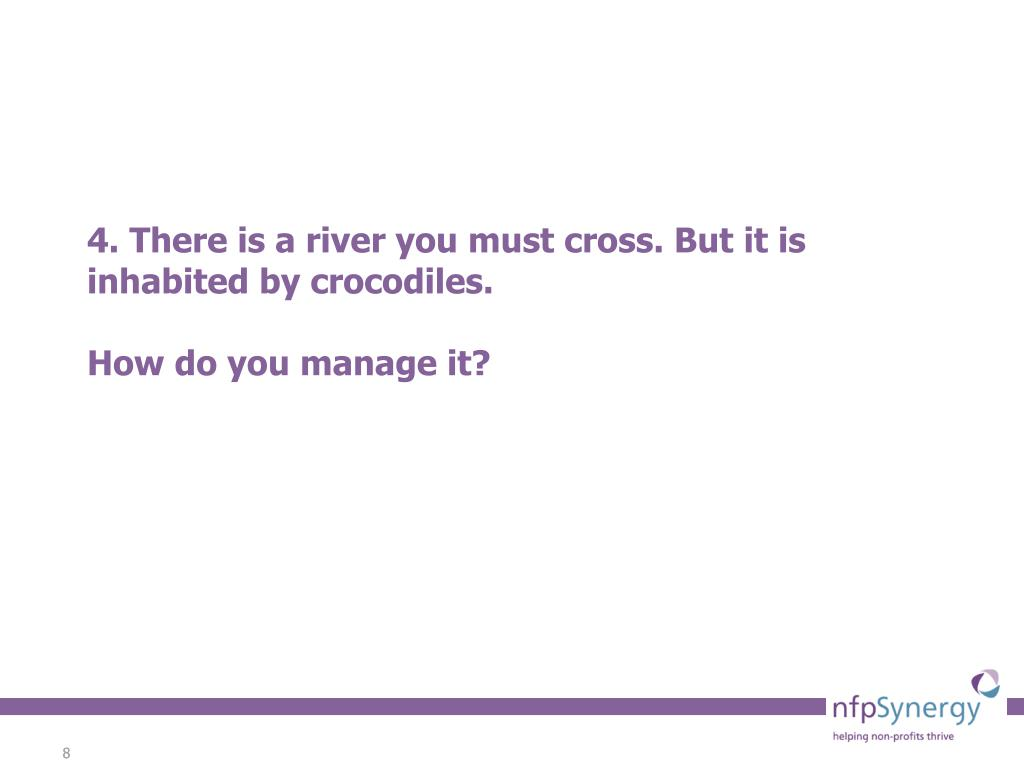 4. There is a river you must cross. But it is inhabited by crocodiles.