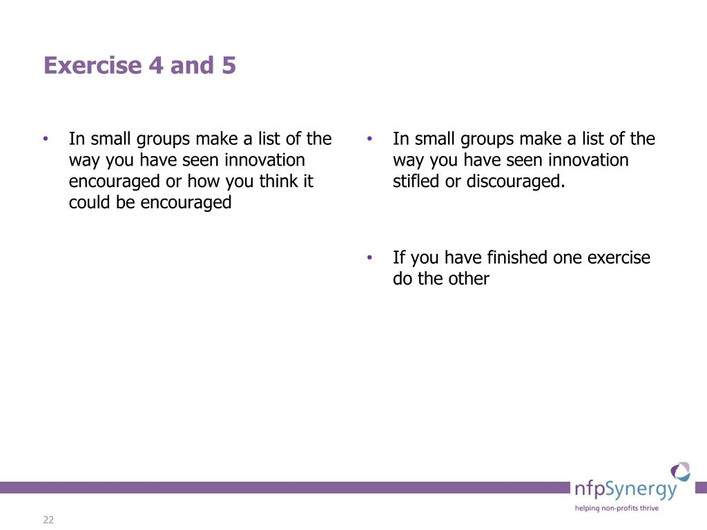 In small groups make a list of the way you have seen innovation encouraged or how you think it could be encouraged