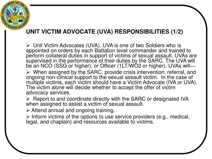 UNIT VICTIM ADVOCATE (UVA) RESPONSIBILITIES (1/2)