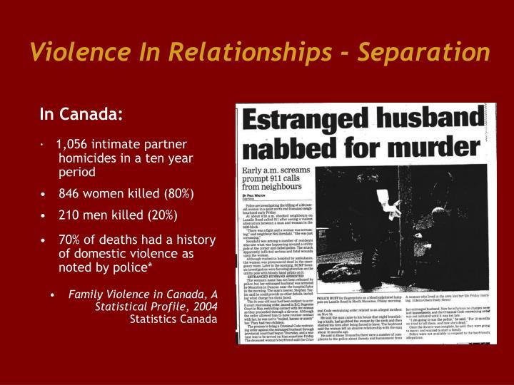 Violence In Relationships - Separation