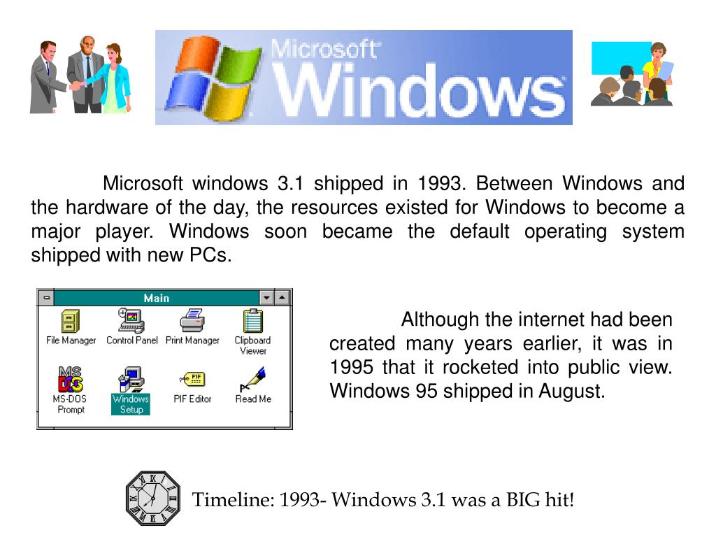Microsoft windows 3.1 shipped in 1993. Between Windows and the hardware of the day, the resources existed for Windows to become a major player. Windows soon became the default operating system shipped with new PCs.