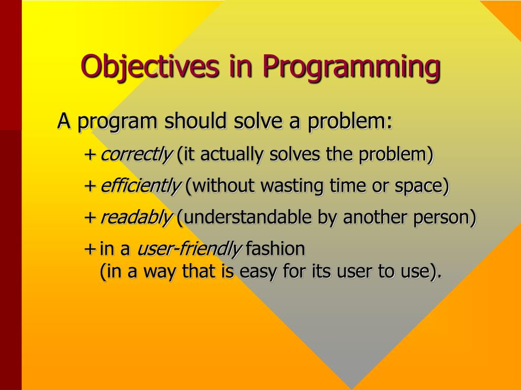 Objectives in Programming