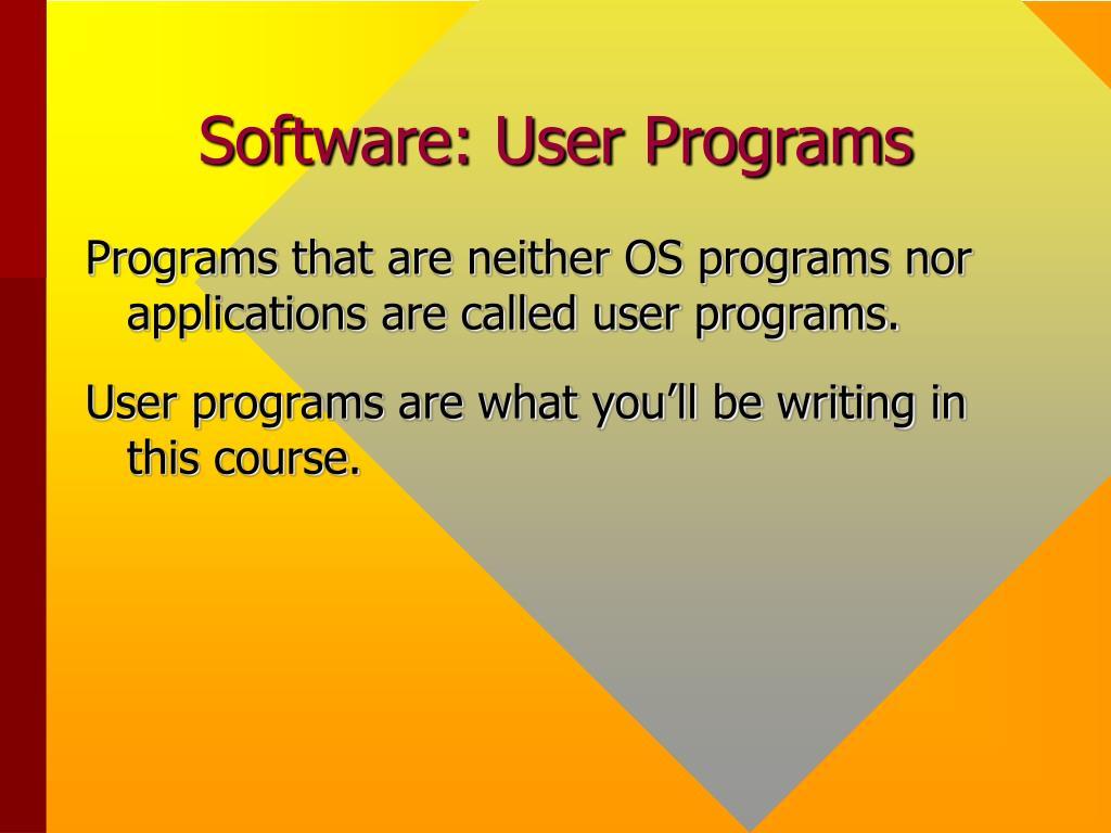 Software: User Programs