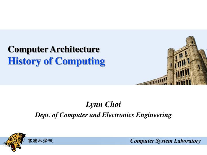 Computer architecture history of computing