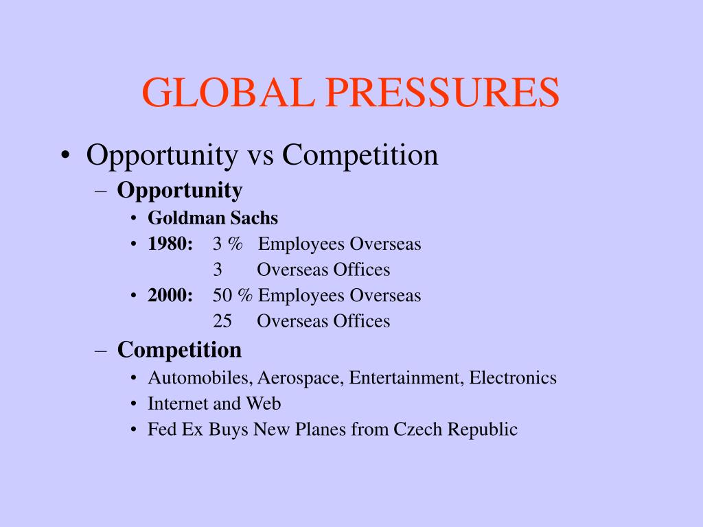 GLOBAL PRESSURES