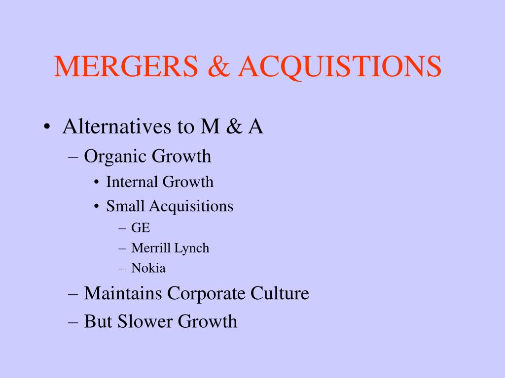 MERGERS & ACQUISTIONS
