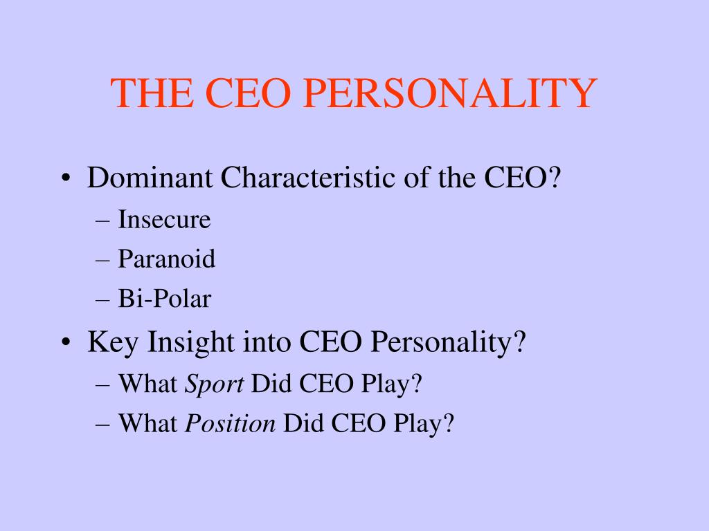 THE CEO PERSONALITY