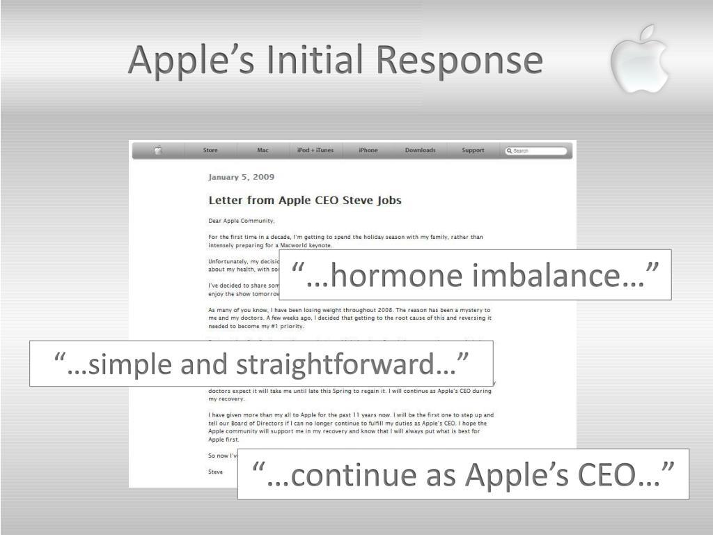 Apple's Initial Response