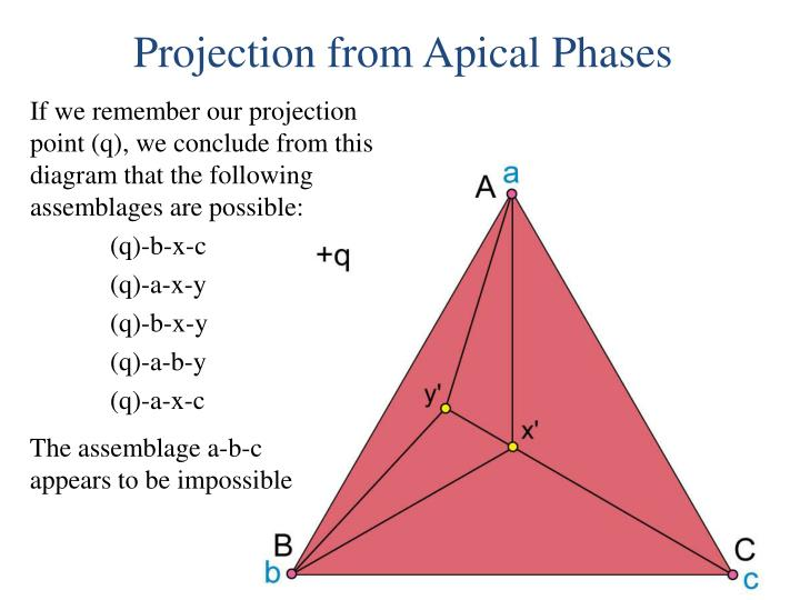 If we remember our projection point (q), we conclude from this diagram that the following assemblages are possible: