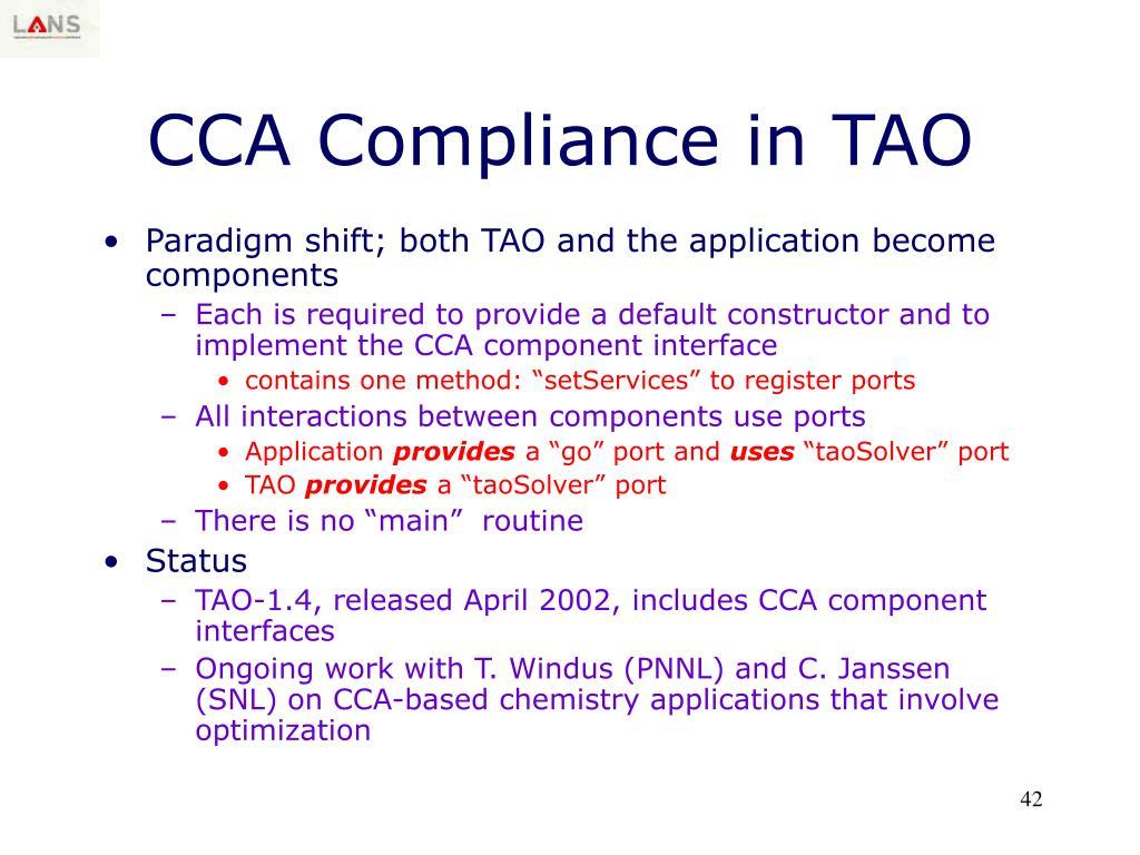CCA Compliance in TAO