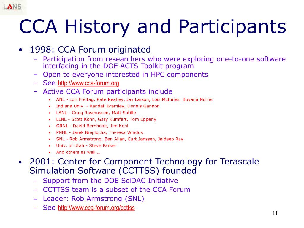 CCA History and Participants