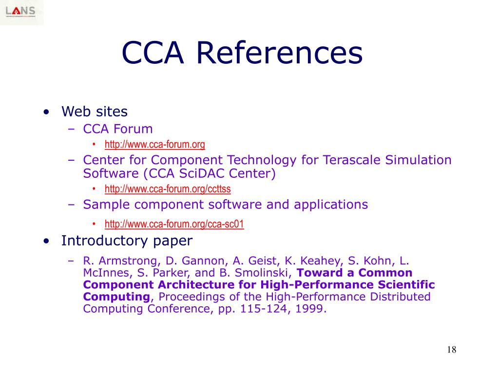 CCA References
