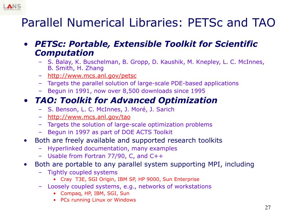 Parallel Numerical Libraries: PETSc and TAO