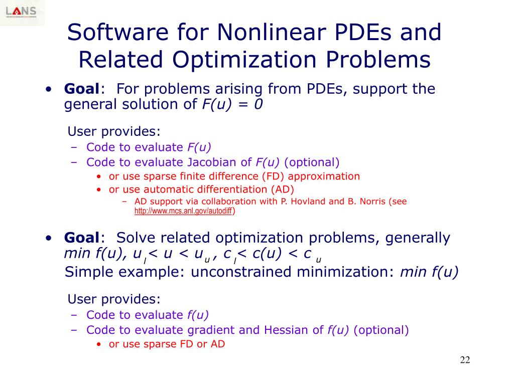 Software for Nonlinear PDEs and Related Optimization Problems