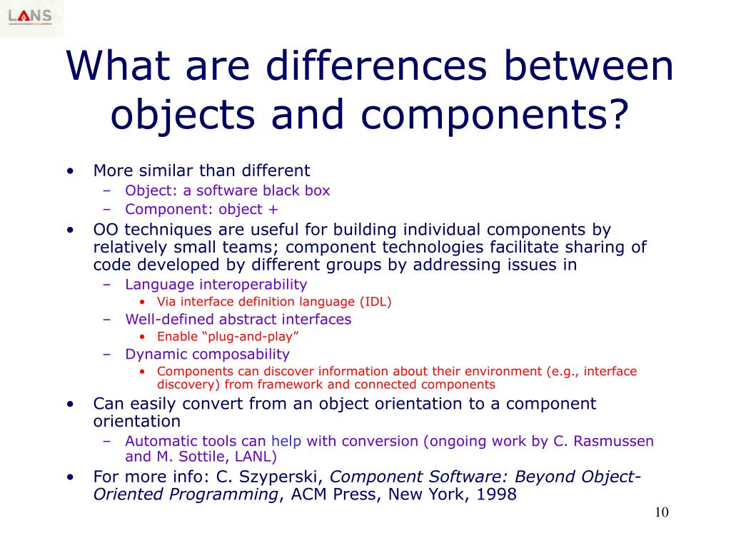 What are differences between objects and components?