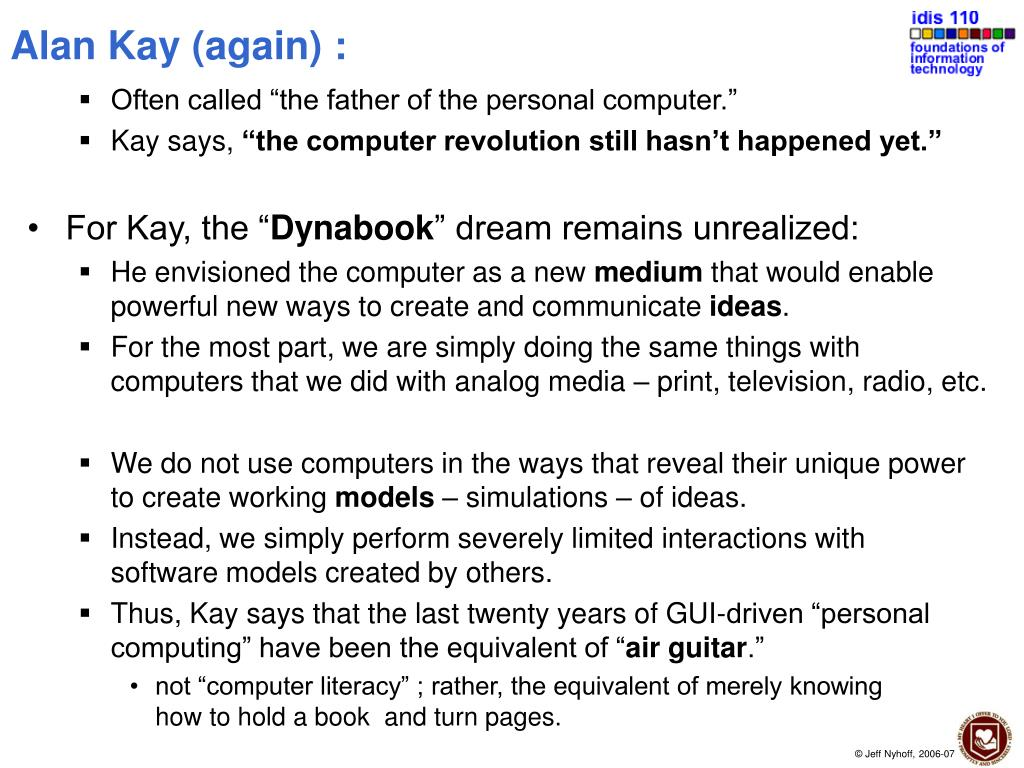 Alan Kay (again) :