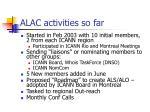alac activities so far