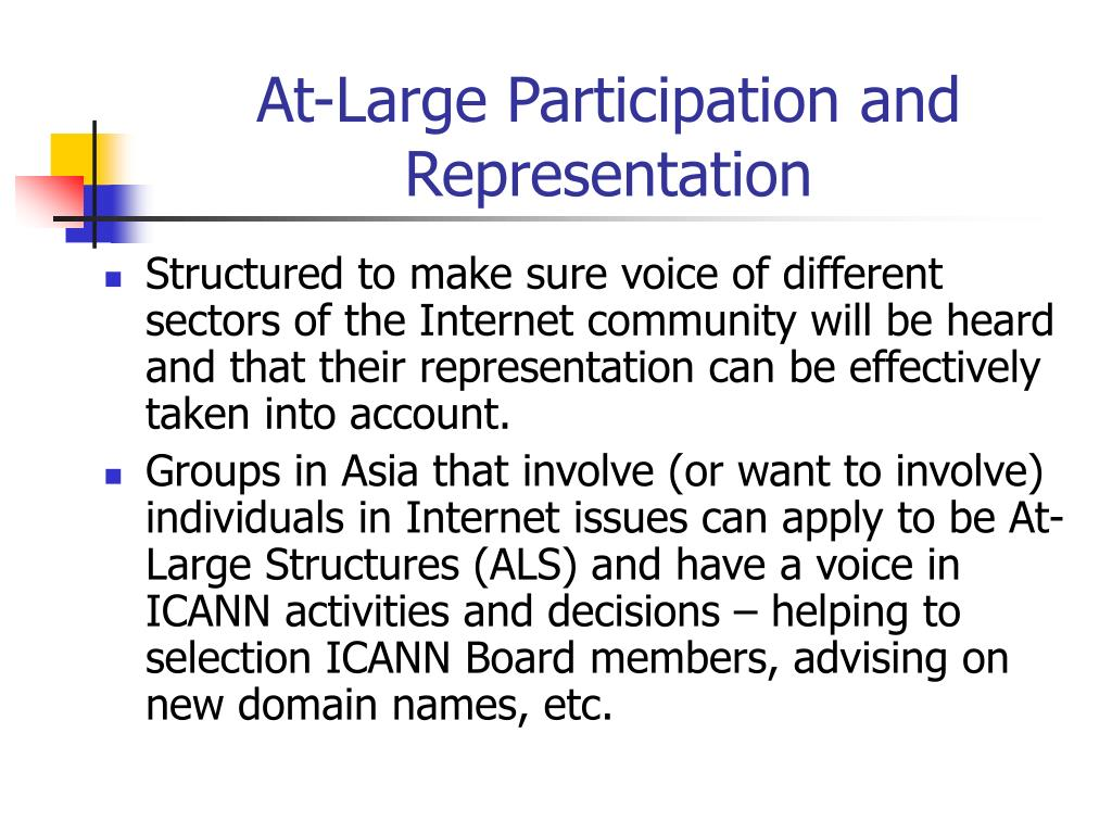 At-Large Participation and Representation