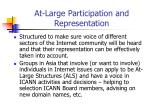 at large participation and representation