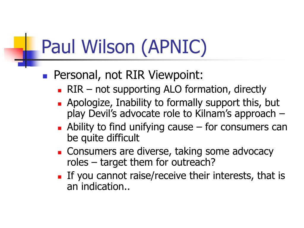 Paul Wilson (APNIC)
