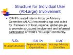 structure for individual user at large involvement