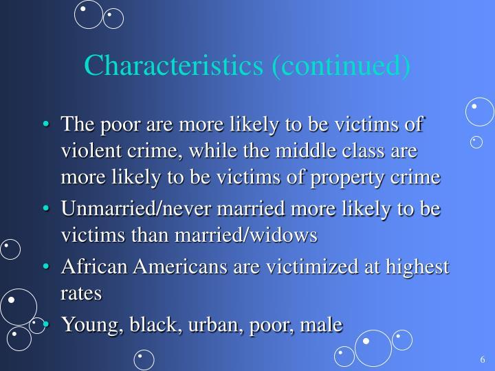 Characteristics (continued)