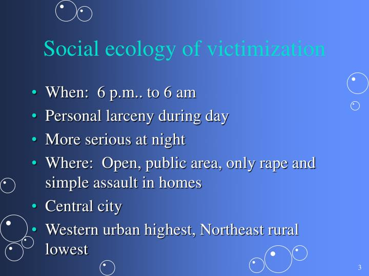 Social ecology of victimization
