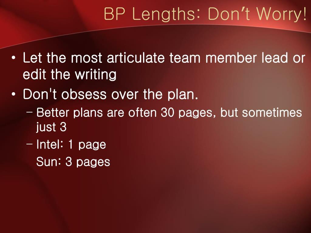 BP Lengths: Don