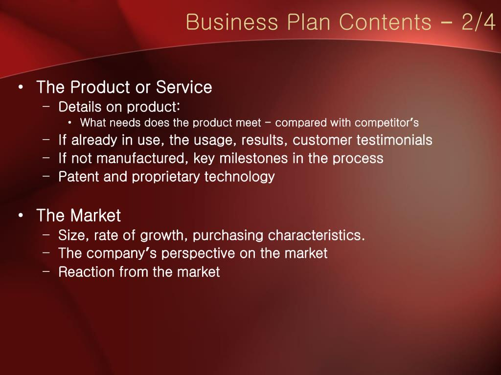 Business Plan Contents