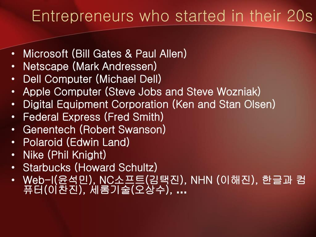 Entrepreneurs who started in their 20s