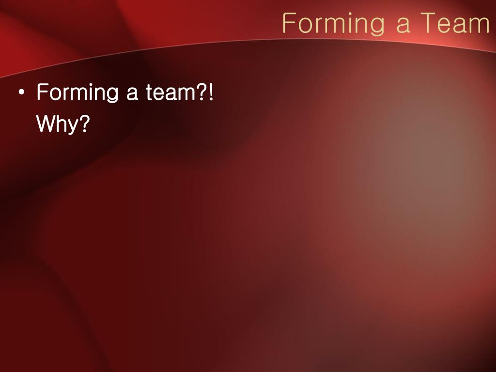 Forming a Team