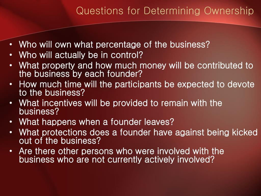 Questions for Determining Ownership