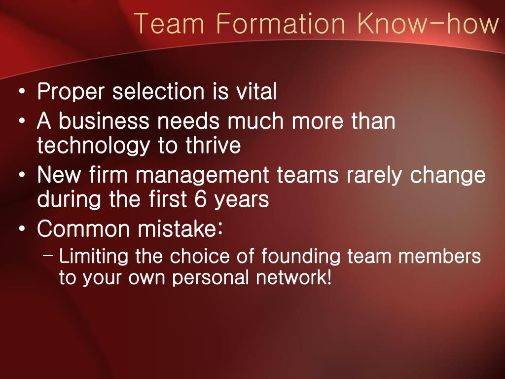 Team Formation Know-how