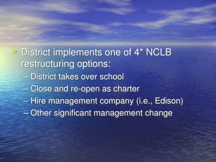 District implements one of 4* NCLB restructuring options: